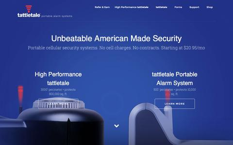 Screenshot of Home Page tattletale.com - Portable Cellular Security Systems with No Contracts - tattletale - captured Dec. 20, 2016