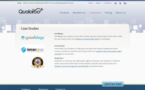 Screenshot of Case Studies Page qualaroo.com - Case Studies | Qualaroo - Behavior Insight Surveys For Smarter A/B Testing - captured July 19, 2014