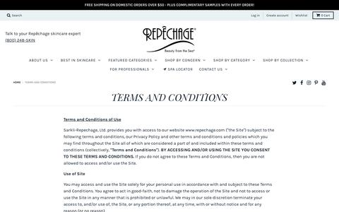 Screenshot of Terms Page repechage.com - TERMS AND CONDITIONS – Repêchage® - captured Sept. 20, 2018