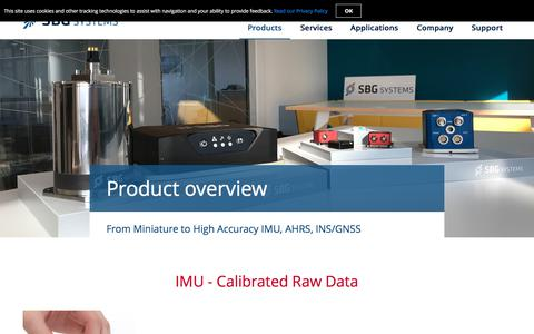 Screenshot of Products Page sbg-systems.com - SBG Systems Inertial Sensors - Mini and Precise IMU, AHRS, INS, MRU - captured Sept. 23, 2018