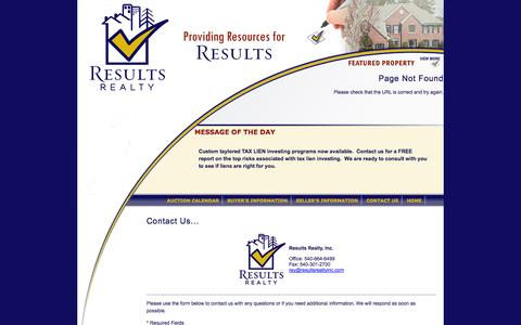 Screenshot of Contact Page resultsrealtyinc.com - Results Realty, Inc. - captured Oct. 26, 2014