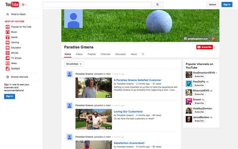 Screenshot of YouTube Page youtube.com - Paradise Greens  - YouTube - captured Oct. 22, 2014