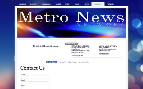 Screenshot of Contact Page mymetronews.org - Contact Us - captured Nov. 28, 2016