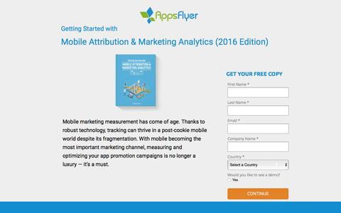 Screenshot of Landing Page appsflyer.com - Mobile Attribution & Marketing Analytics  - Beginners guide (2016 Edition) - captured May 2, 2016