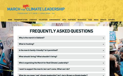 Screenshot of FAQ Page marchforclimateleadership.org - 8,000 People Marched for Real Climate Leadership. This is what it looked like.  – FAQs - captured Dec. 28, 2016