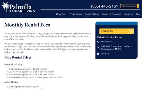 Screenshot of Pricing Page spectrumretirement.com - Monthly Rental Pricing   Palmilla Senior Living - captured Oct. 23, 2018