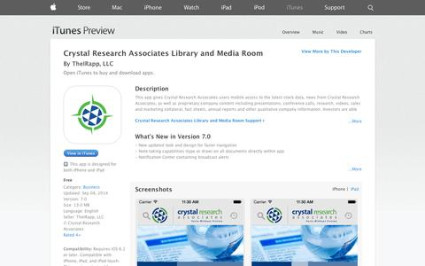 Screenshot of iOS App Page apple.com - Crystal Research Associates Library and Media Room on the App Store on iTunes - captured Oct. 23, 2014