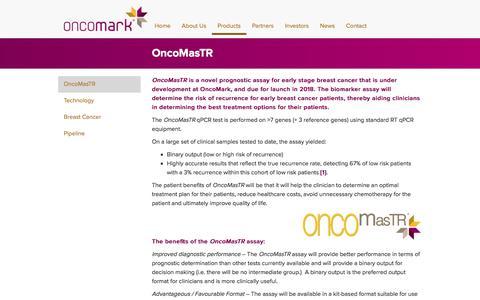Screenshot of Products Page oncomark.com - OncoMasTR  | Oncomark - captured Nov. 2, 2017