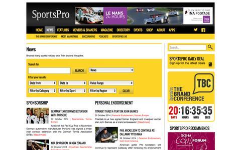 Screenshot of Press Page sportspromedia.com - SportsPro news - Global sports broadcast, sponsorship & agency deals - SportsPro Media - SportsPro Media - captured Oct. 30, 2014