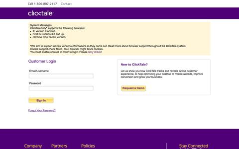 Screenshot of Support Page clicktale.com - ClickTale | Sign in - captured Oct. 28, 2014