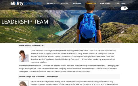 Screenshot of Team Page abilitycommerce.com - Ability Commerce leadership team, experts in direct commerce - captured Dec. 27, 2016