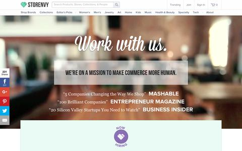 Screenshot of Jobs Page storenvy.com - Work at Storenvy - captured Aug. 8, 2018