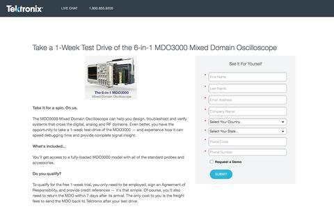 Screenshot of Landing Page tek.com - Tektronix   Take a 1-Week Test Drive of the MDO3000 Mixed Domain Oscilloscope - captured Aug. 15, 2016