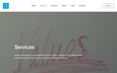 Screenshot of Services Page dubitlimited.com - Services - captured Aug. 8, 2018