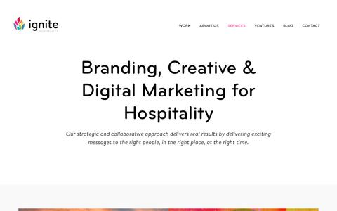 Screenshot of Services Page ignitehospitality.com - Marketing Services for Restaurants & Hotels | Ignite Hospitality Marketing Agency - captured Oct. 14, 2017