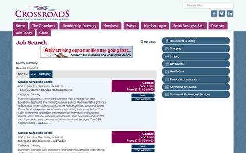 Screenshot of Jobs Page crossroadschamber.org - Job Search - Crossroads Regional Chamber of Commerce, IN - captured Nov. 14, 2016