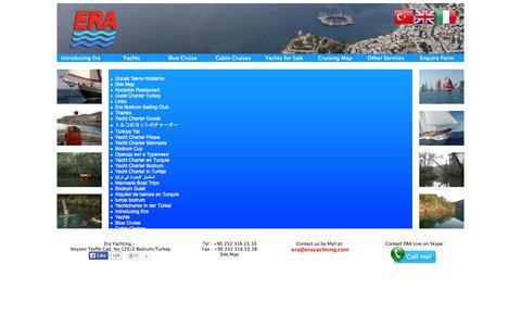 Screenshot of Site Map Page erayachting.com captured Oct. 1, 2014