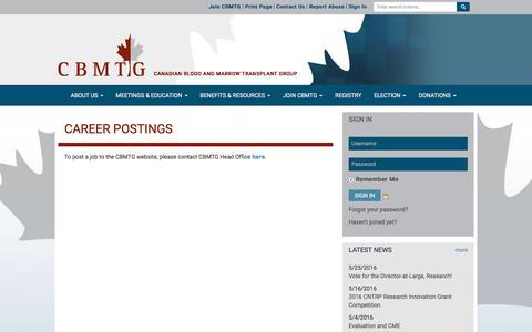Screenshot of Jobs Page cbmtg.org - Career Postings - CBMTG - captured June 11, 2016