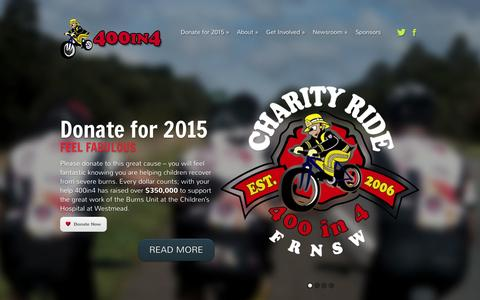 Screenshot of Home Page 400in4.org - 400 in 4 Charity Ride - Raising funds for The Children's Hospital at Westmead. - captured Oct. 6, 2014