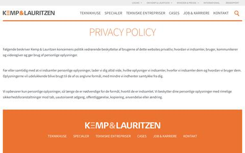 Screenshot of Privacy Page kemp-lauritzen.dk - Privacy policy | Kemp & Lauritzen - captured July 9, 2017