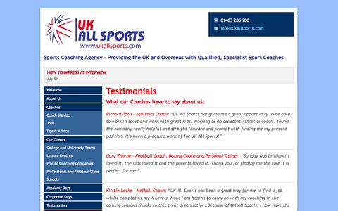Screenshot of Testimonials Page ukallsports.com - Sports Coaching Agency – Providing the UK and Overseas with Qualified, Specialist Sport Coaches - UK All Sports - captured Sept. 30, 2014