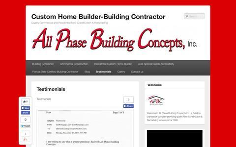 Screenshot of Testimonials Page allphasebuildingconcepts.com - Testimonials - Custom Home Builder-Building Contractor - captured Nov. 2, 2014