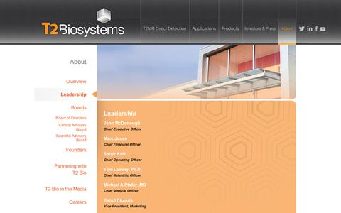 Screenshot of Team Page t2biosystems.com - Leadership | About | T2Biosystems - captured Sept. 11, 2014