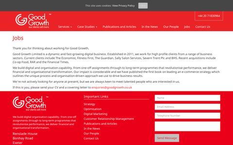 Screenshot of Jobs Page goodgrowth.co.uk - Jobs - Good Growth - captured Nov. 11, 2016