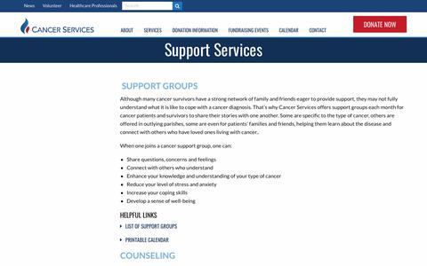 Screenshot of Support Page cancerservices.org - Emotional & Health Support | Cancer Services of Greater Baton Rouge - captured Sept. 26, 2018