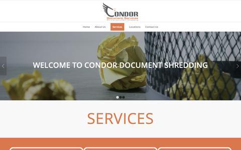 Screenshot of Services Page condordocs.com - Services | Condor Document Shredding - captured Dec. 15, 2018