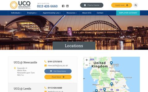 Screenshot of Locations Page ucq.ac.uk - UCQ | Locations | Training Managers - captured Oct. 18, 2018