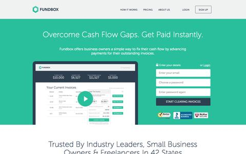 Screenshot of Home Page fundbox.com - Overcome Cash Flow Gaps. Get Paid Instantly. : Fundbox - captured Sept. 16, 2014