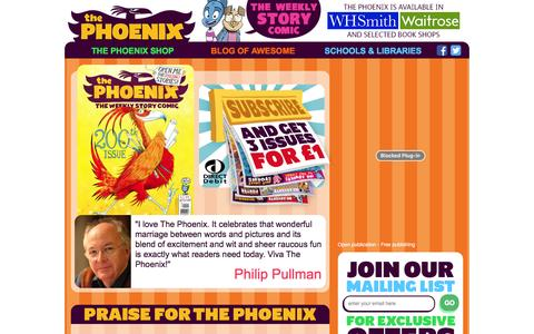 Screenshot of Home Page thephoenixcomic.co.uk - - The Phoenix Comic - captured Jan. 11, 2016