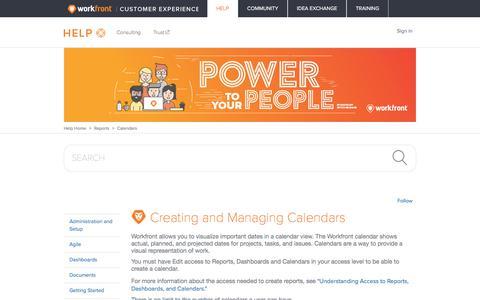 Screenshot of Support Page workfront.com - Creating and Managing Calendars – Workfront - captured Dec. 29, 2017