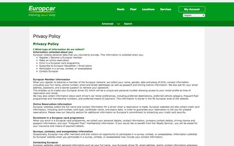 Screenshot of Privacy Page europcar.com.pl - Privacy Policy - captured July 15, 2017