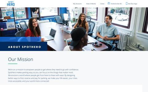 Screenshot of About Page spothero.com - About Us | Spothero - captured Feb. 26, 2017