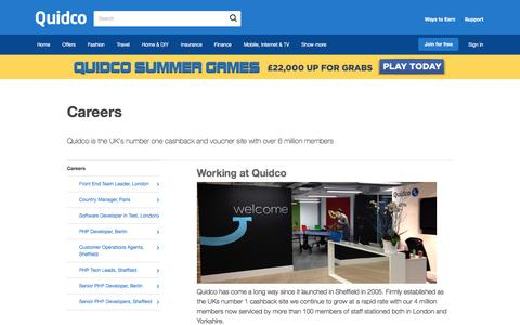 Screenshot of Jobs Page quidco.com - Careers | Quidco - captured July 22, 2016