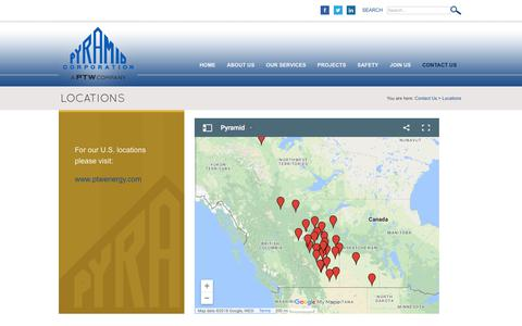 Screenshot of Locations Page pyramidcorporation.com - Locations - captured July 25, 2018