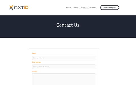Screenshot of Contact Page nxt-id.com - Contact - NXT-ID - captured Sept. 24, 2018