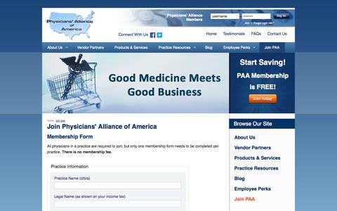 Screenshot of Signup Page physall.com - Join Physicians' Alliance of America | Physicians' Alliance of America - captured Oct. 2, 2014