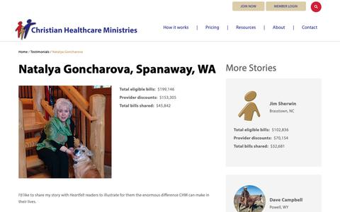 Screenshot of Testimonials Page chministries.org - Spanaway, WA              | Christian Healthcare Ministries - captured May 16, 2019