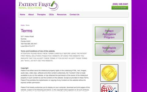 Screenshot of Terms Page pfrenal.com - Terms | Patient First Renal Solutions - captured Oct. 29, 2014