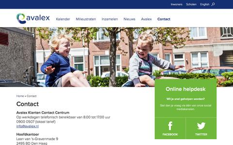 Screenshot of Contact Page avalex.nl - Contact - Avalex - captured July 27, 2016