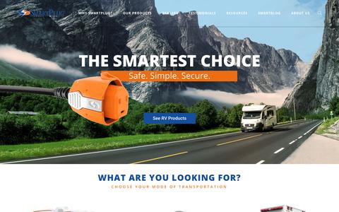 Screenshot of Home Page smartplug.com - SmartPlug - Innovations in Power Delivery for your RV and Marine Vehicles - captured Oct. 6, 2017