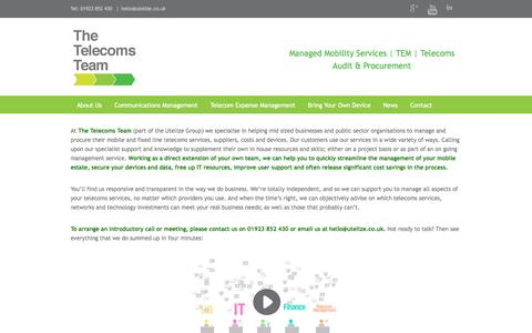 Screenshot of Home Page utelizecommunications.co.uk - Telecom Expense Management & Telecoms Consultancy | - captured Oct. 5, 2014