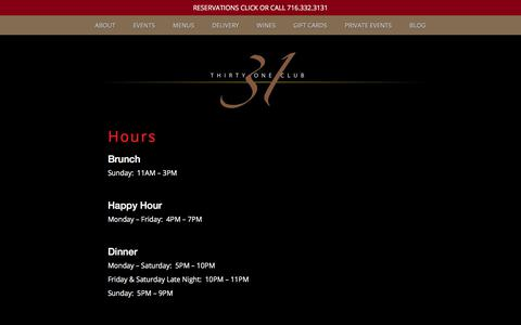 Screenshot of Hours Page the31club.com - Hours - captured Oct. 25, 2017