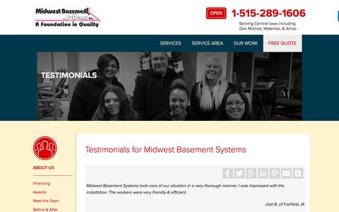 Screenshot of Testimonials Page midwestbasementsystems.com - Testimonials (Customer Reviews) for Midwest Basement Systems - captured Aug. 11, 2016