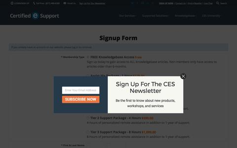 Screenshot of Signup Page certifiedesupport.com - Certified eSupport - captured May 15, 2017