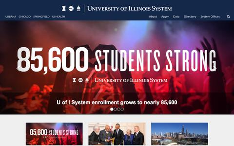 Screenshot of Home Page uillinois.edu - Home - University of Illinois System - captured Sept. 15, 2018