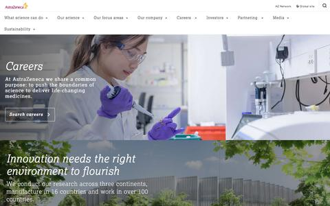 Screenshot of Jobs Page astrazeneca.com - Careers - Our Company - AstraZeneca - captured March 9, 2016